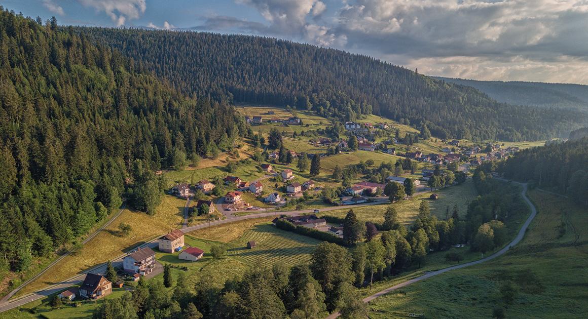 Ferienhaus Enztalblick in Enzklösterle im Nordschwarzwald - Blick über Nonnenmiß und das Ferienhaus am frühen Morgen