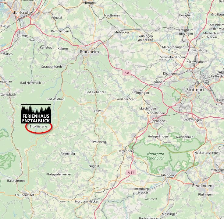 Ferienhaus Enztalblick in Enzklösterle im Nordschwarzwald - Die Lage im Nordschwarzwald in der Nähe von Karlsruhe, Pforzheim und Stuttgart