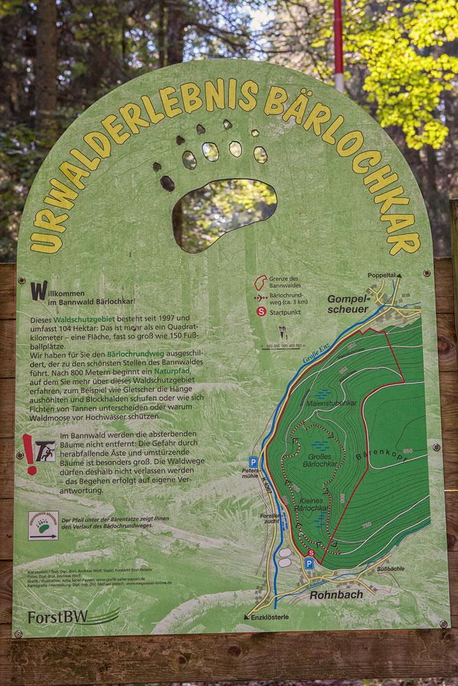 Ferienhaus Enztalblick in Enzklösterle im Nordschwarzwald - Wandervorschlag  Bärlochkar - Informationstafel mit Karte