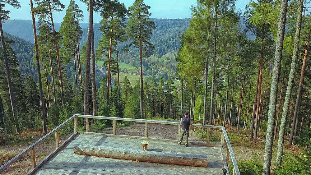 Ferienhaus Enztalblick in Enzklösterle im Nordschwarzwald - Wandervorschlag Heidelbeerweg in Enzklösterle - Aussichtsplattform über dem Enztal